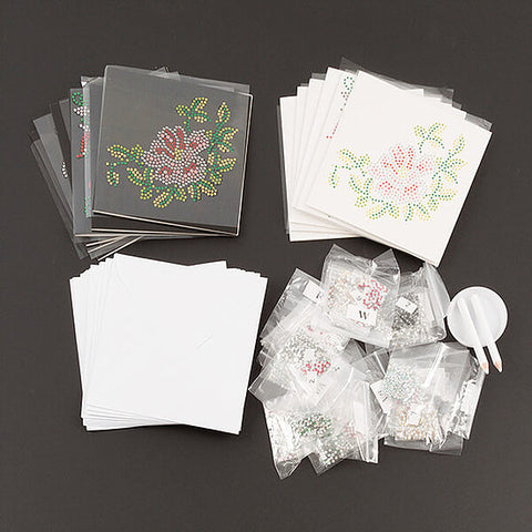"""Animals and Roses"" Black and White 12 x Crystal Card Kit - Makes 12 cards"