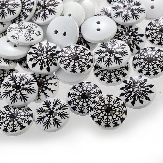 100pcs x 18mm White Wooden painted Snowflake Buttons