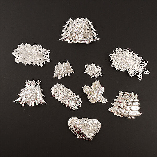 100 Piece Metal Christmas Embellishments Set
