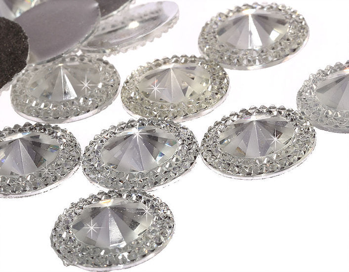 50pcs of 20mm Round Pointed Diamond Flat Back (AB Clear - PRG20-SW)