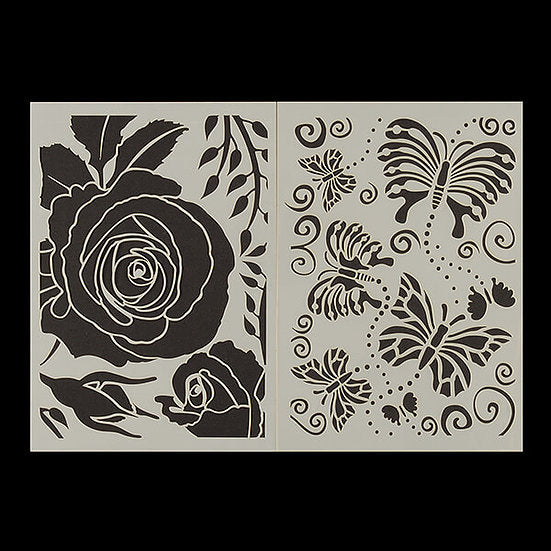 Set Of 2 Nature Stencils: Dragonflies With Lupins Or Butterflies With roses