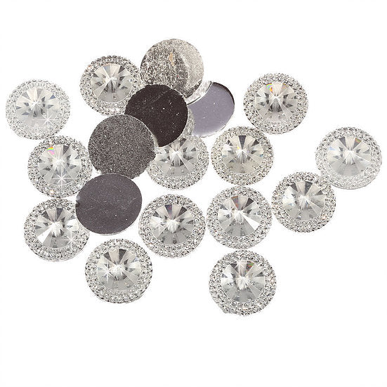 50pcs of 20mm Round Pointed Diamond Flat Back (Clear - PRG20)