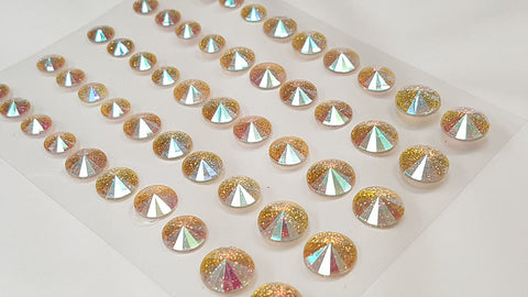 50pcs Self Adhesive Pointed Glitter Gems AB CLEAR (DBG05SW)