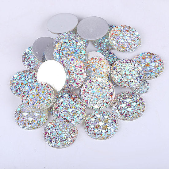 30pcs of 30mm Round Flat Back Resin Moonrock Gems (AB Clear - MG3)
