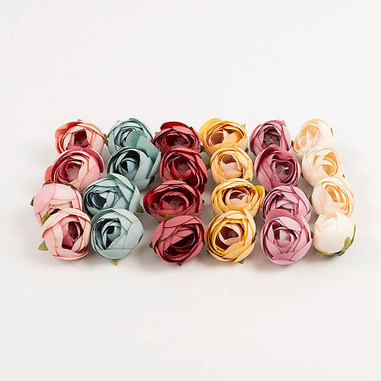DB 24 Assorted Vintage Fabric Peony Buds (DB-FFKT2)