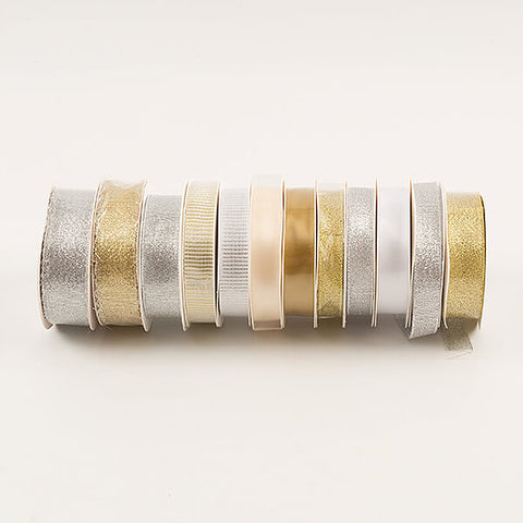 Gold & Silver Ribbon Selection - 12 x 5M Rolls (60m in Total)