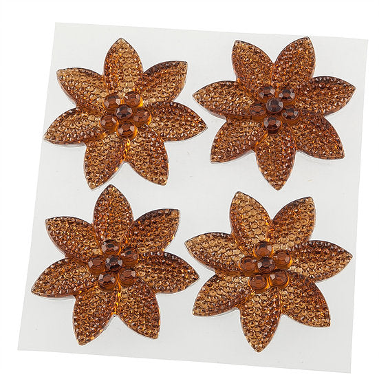 Amber Crystal Pretty Petal Self Adhesive Gems (DBG02-A)