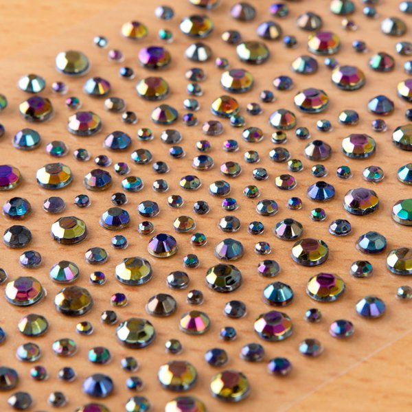 325 x 2,3,4,5mm BLACK OIL Self Adhesive Gems