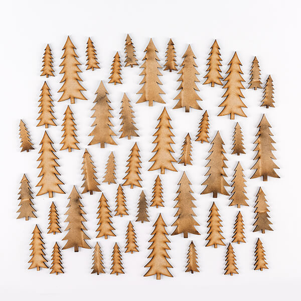 Pretty Gets Gritty - Set of 48 MDF Christmas Trees