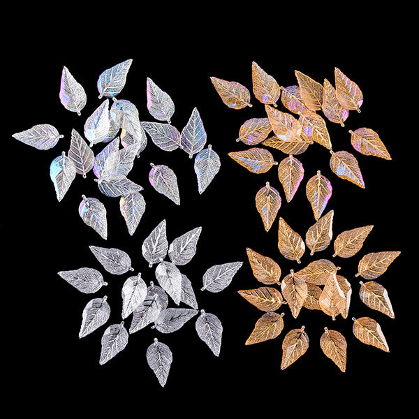 80 Acrylic Leaves - Clear, AB, Gold and Gold AB