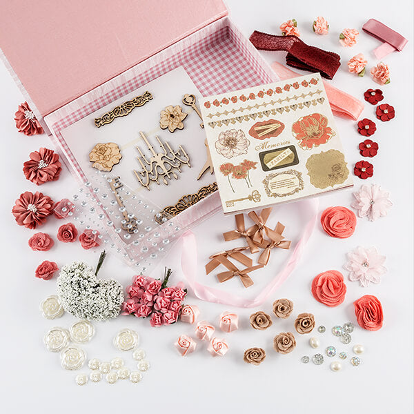 "Pink Poppy Embellishment Set - Inc 19 x Embellishments, 6x6"" Papers & Die Cut Elements"
