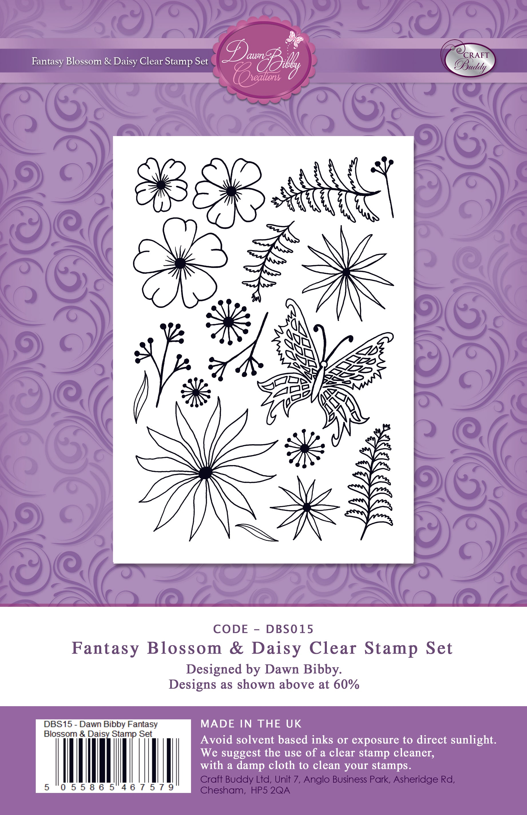Fantasy Blossom and Daisy Clear Stamp Set