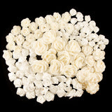 120 Assorted White and Cream Fabric Flowers