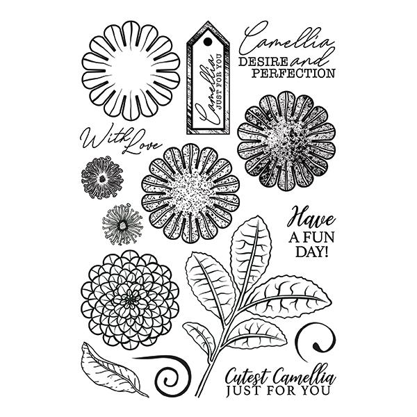 Forever Flowerz - Cute Camellias A5 Clear Stamp Set - FS01