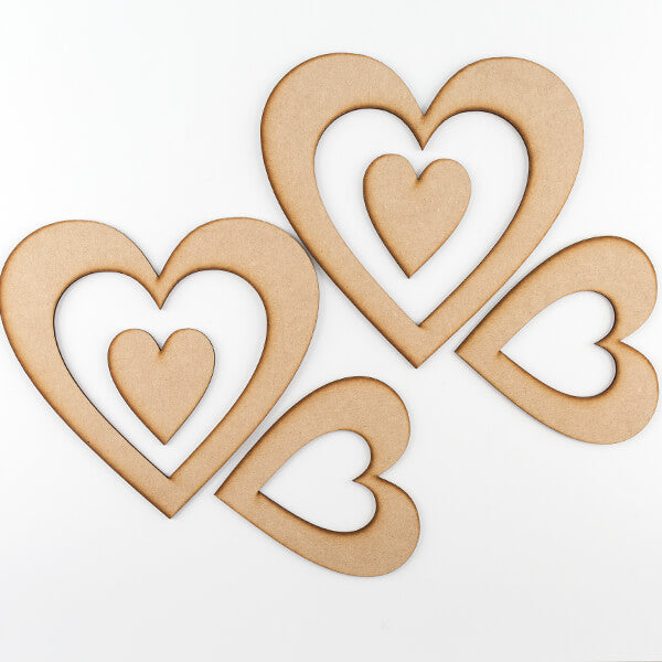 Set of 6 MDF Heart Wreaths & Plaques
