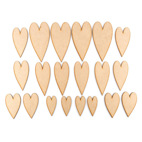 Pretty Gets Gritty - Set of 20 MDF Arty Heart Plaques