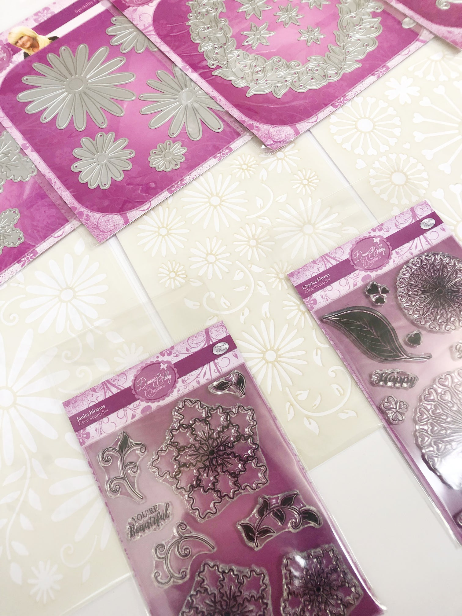 Dawn Bibby Fantasy Flowers Dies, Stamps & Stencils Complete Collection