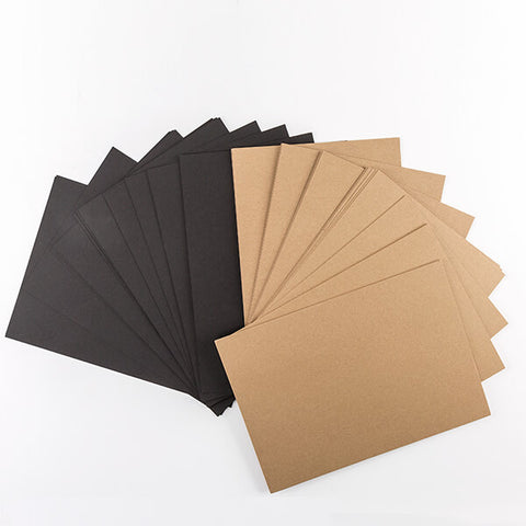 50 Sheets of Kraft & Black Cardstock