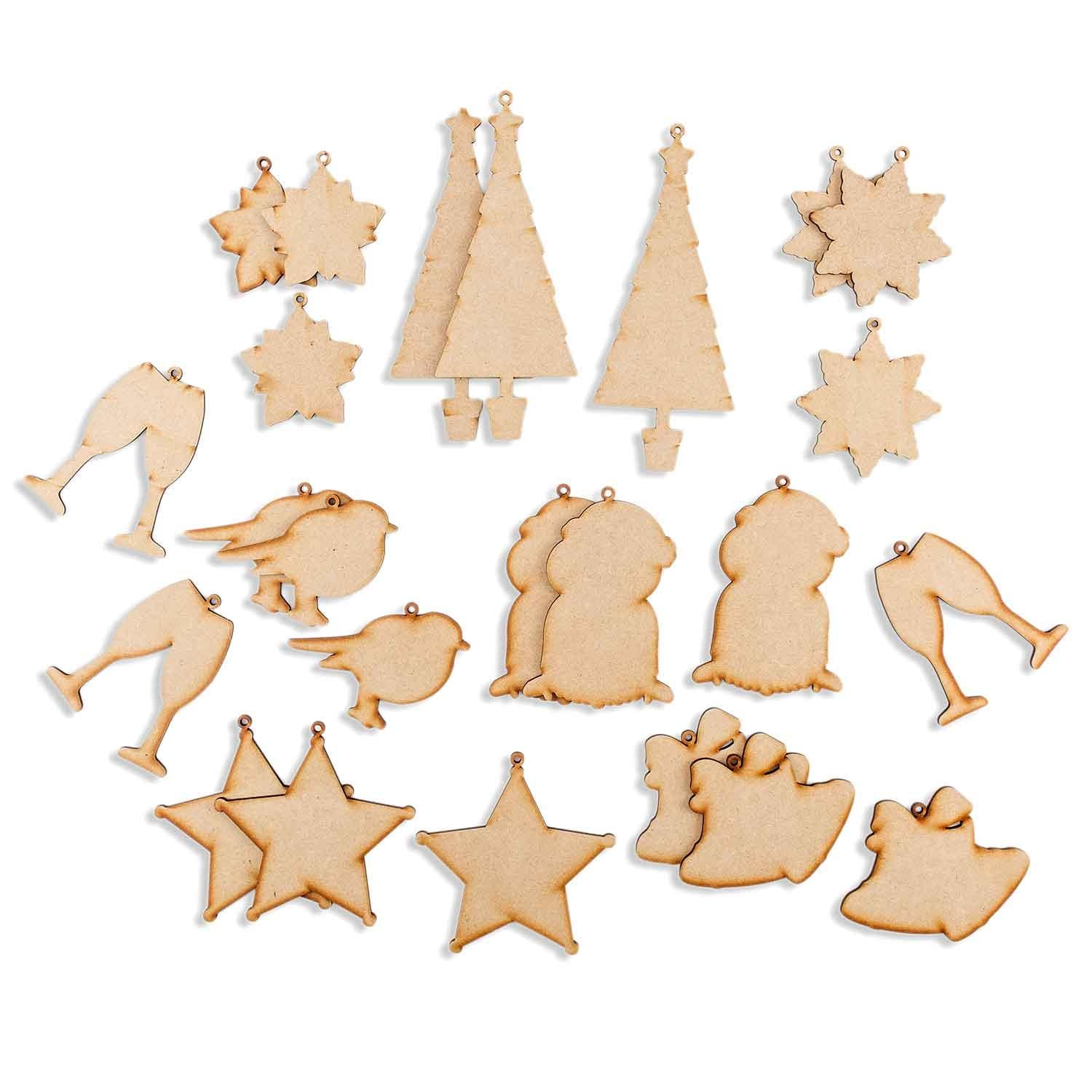 Set of 24 Crystal Art Co-ordintating MDF Festive Shapes