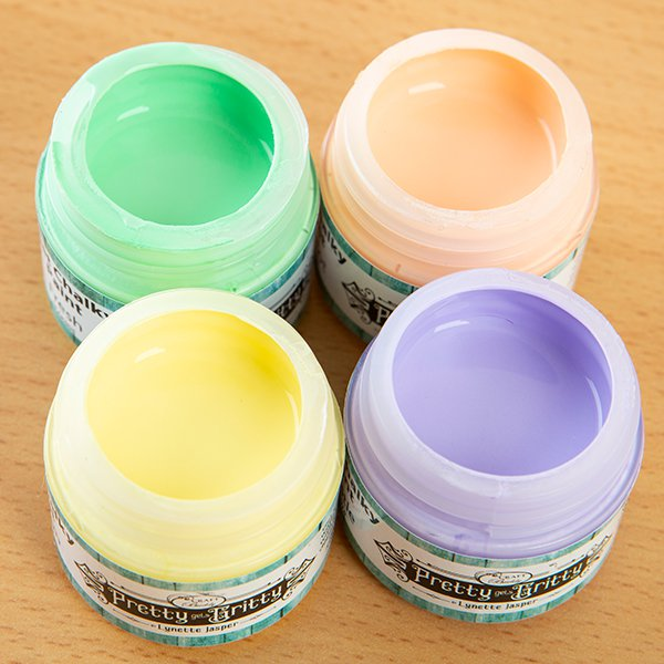 Pretty Gets Gritty - Set of 4 Chalky Acrylic Paint - Lemon, Thistle, Fresh, Apricot