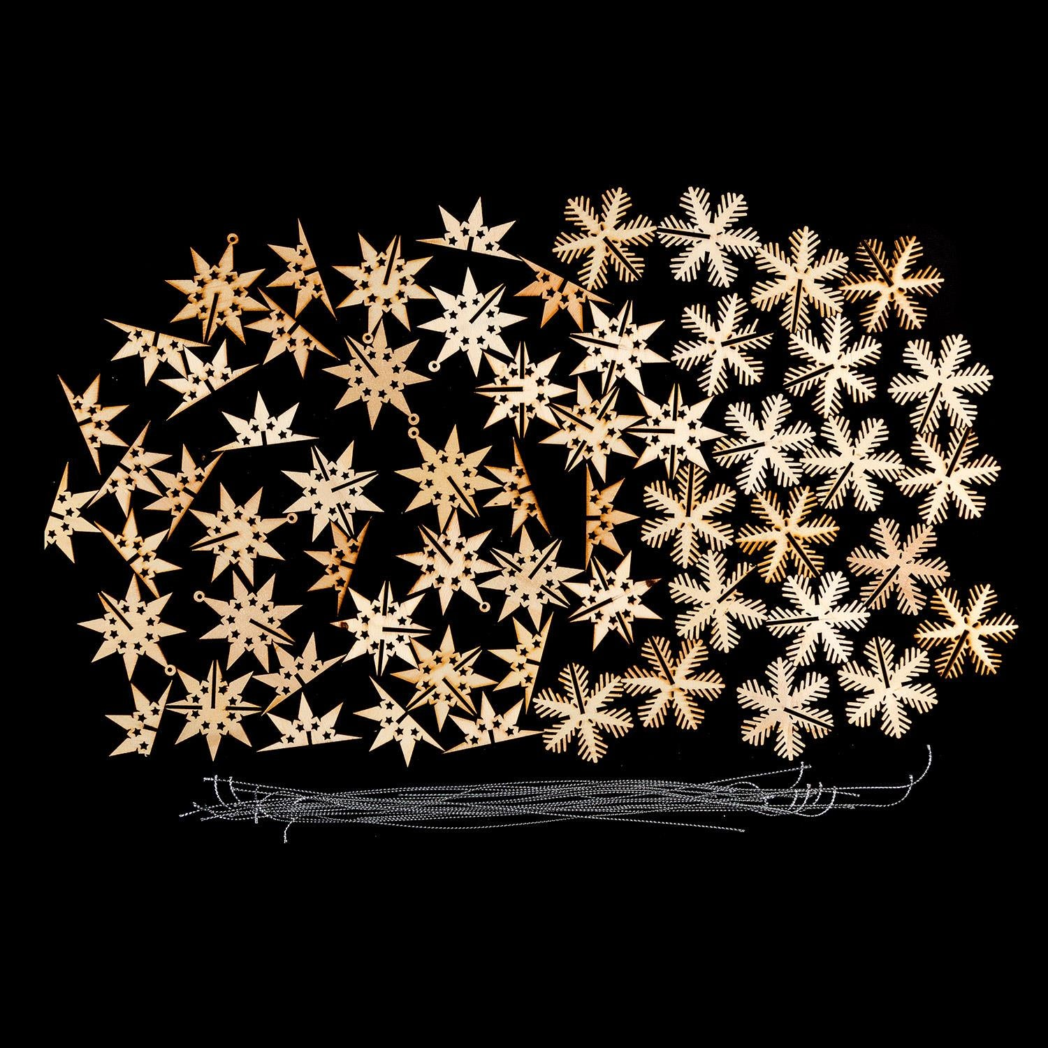 Set of 20 3D Wooden Snowflakes