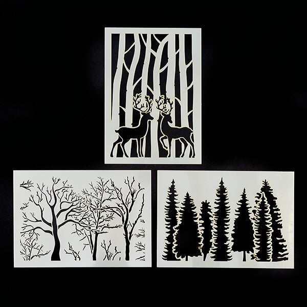 Set of 3 A5 Embossing Stencils - Bare Woodland, Pine Trees & Stag Scene