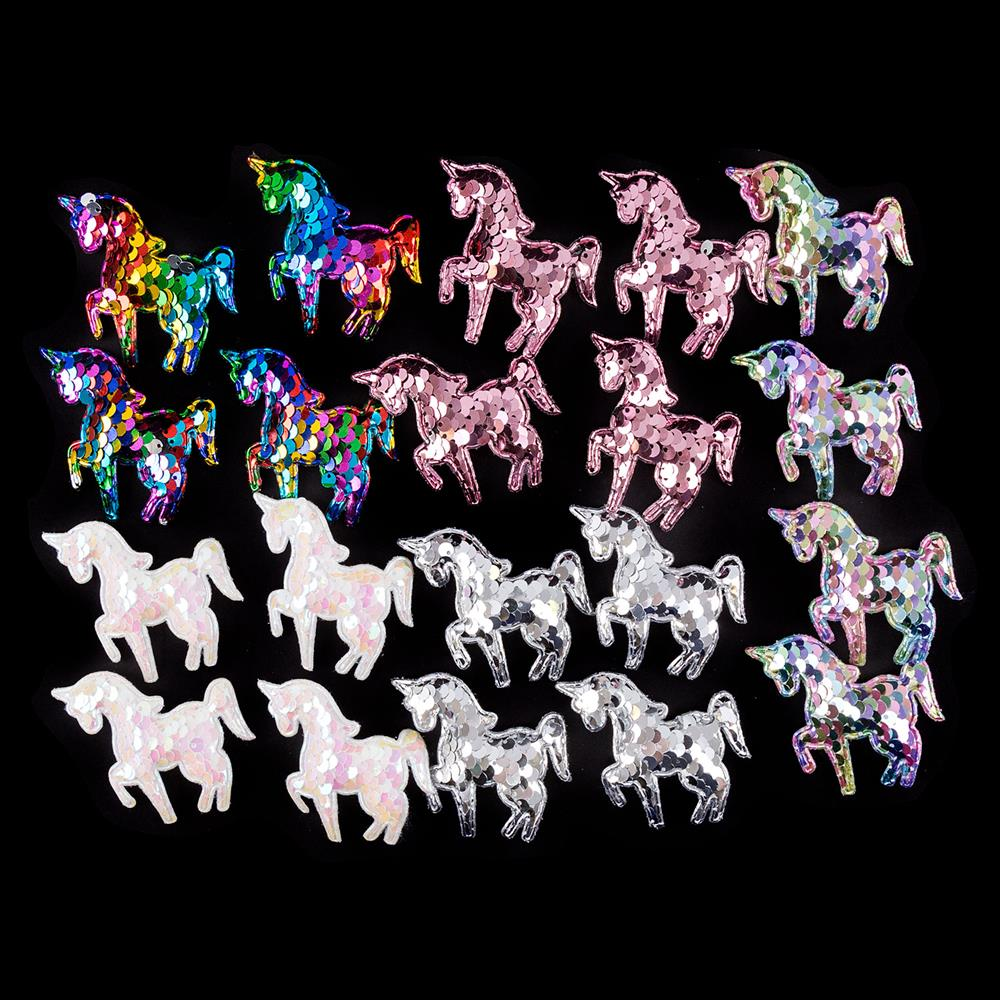 Pack of 20 Sequin Embellishments - Unicorns, Flamingos, Butterflies, Mermaid Tales