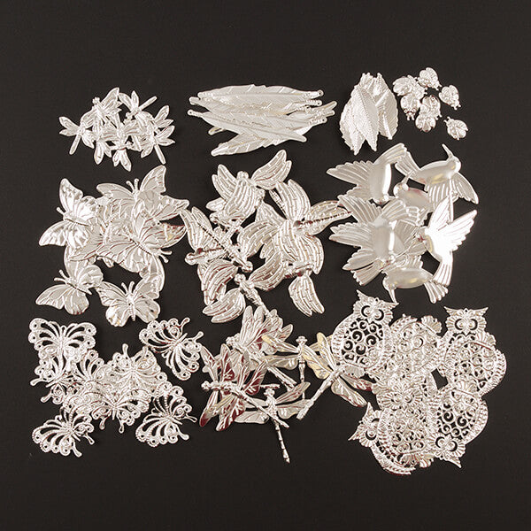 100pcs Luxury Metal Filigree Woodland Embellishments