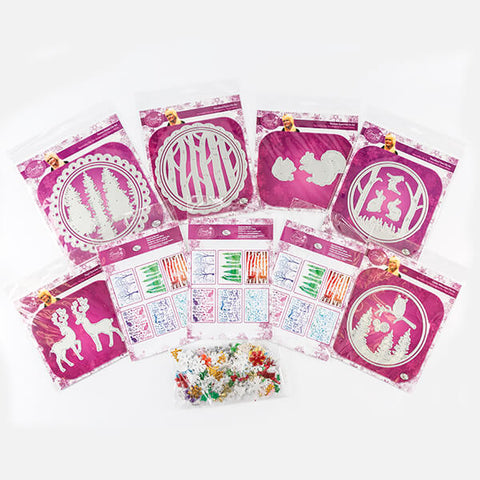 Festive Woodland Collection - 6 Die Sets, 3 Stencils with Free Fabrics Worth £6.99