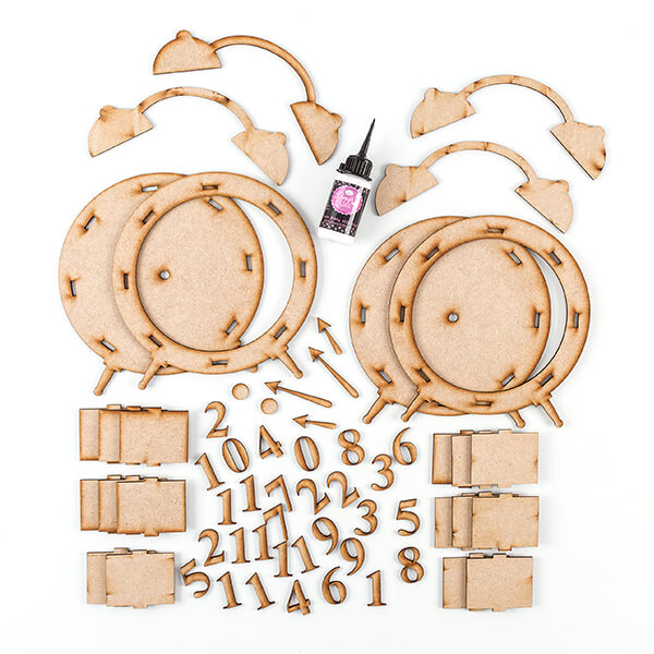 Lynette Jasper 2 x MDF Alarm Clock Sets With MDF Glue