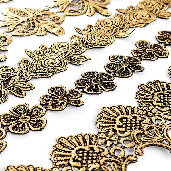 Black and Gold Ornate Lace Collection - 5 Yards in Total