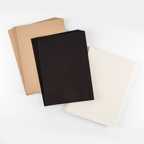 100 Sheets of Premium Card - Black, Kraft and Pearl