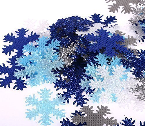 100 x 30mm Fabric Snowflakes Frozen Glitter Blue Wedding Party Craft