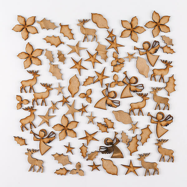 Lynette Jasper Set of 72 MDF Christmas Shapes
