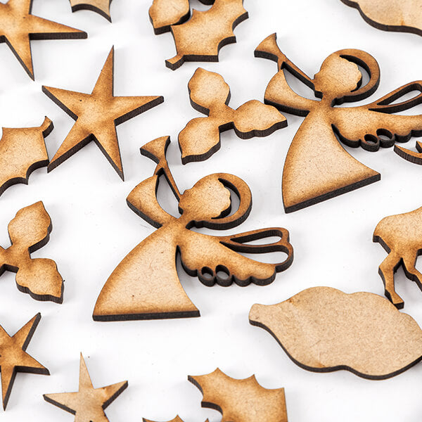 Pretty Gets Gritty - Set of 72 MDF Christmas Shapes