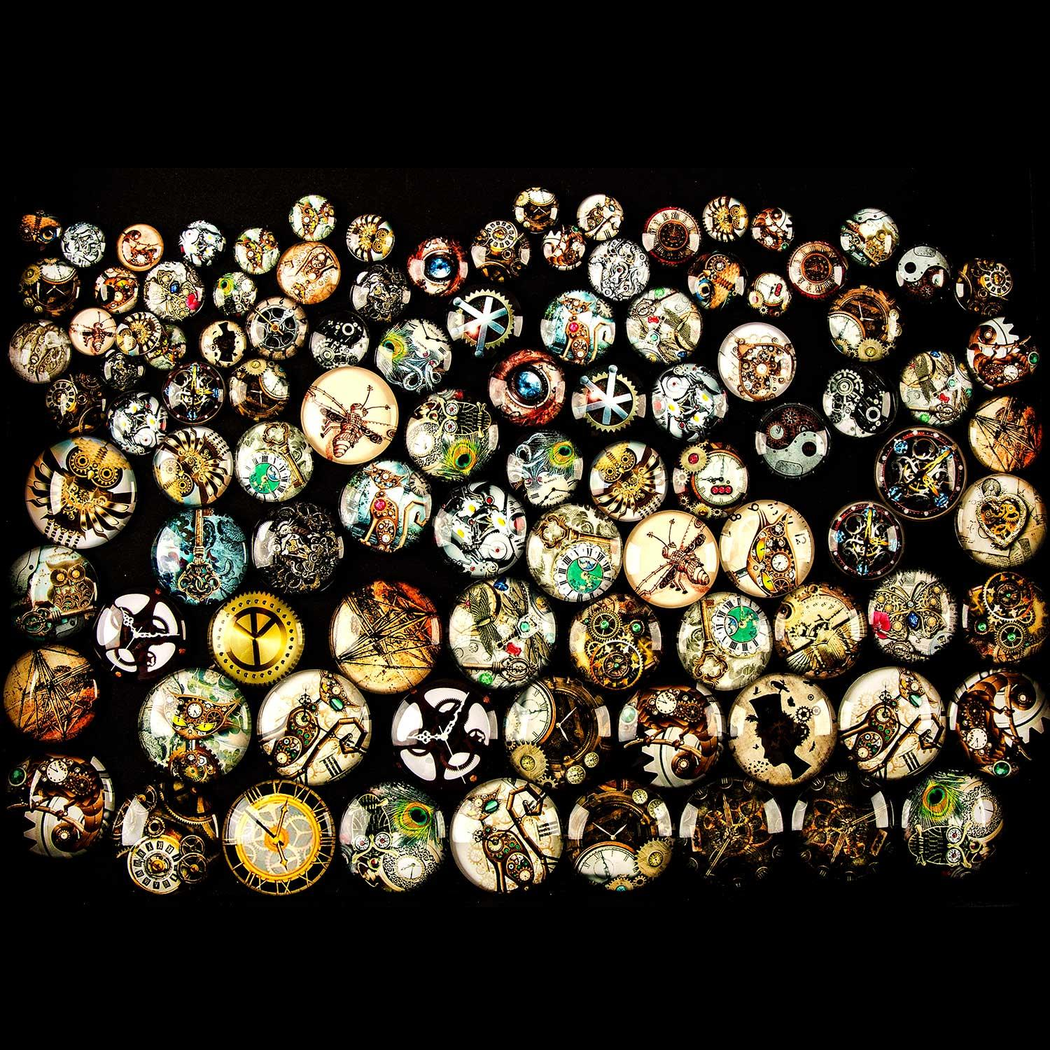 Set of 100 Assorted Steampunk Glass Cabachons