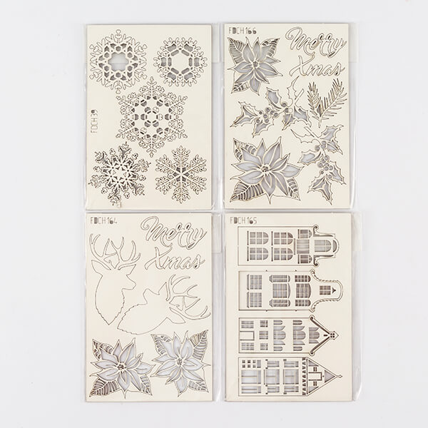 Set of 4 Festive Chipboard Packs