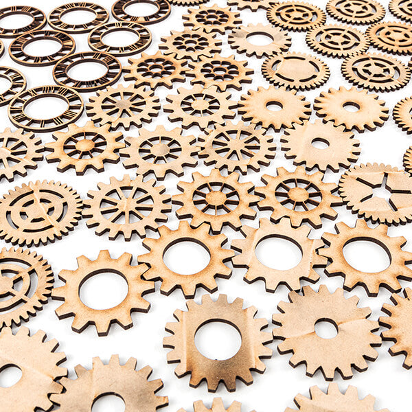Lynette Jasper MDF Cogs And Clock Faces - Set Of 72 Pieces