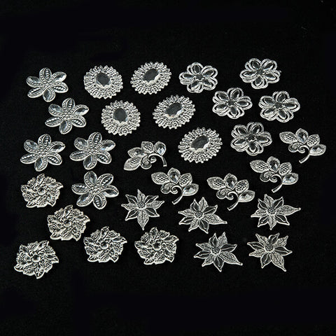 30 Piece CLEAR Colour Me Crazy Resin Toppers - 2 Options