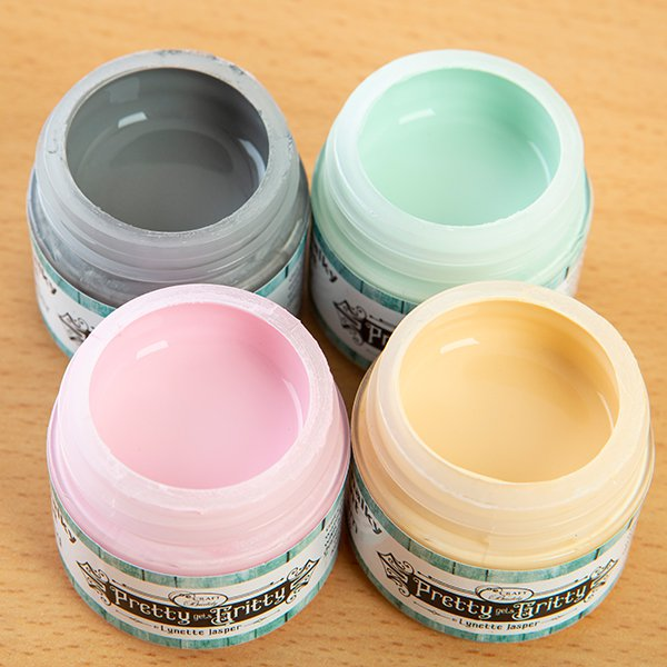 Pretty Gets Gritty - Set of 4 Chalky Acrylic Paint - Cream, Thunder, Mint, Tickled