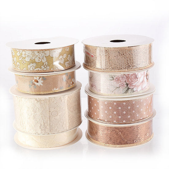 DB Set of 8 Beige Ribbons - 5 yards per reel (DBR01-N)