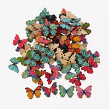 100 x Assorted Wooden Painted Butterfly Embellishments