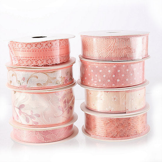 DB Set of 8 Peach Ribbons - 5 yards per reel (DBR01-PK)