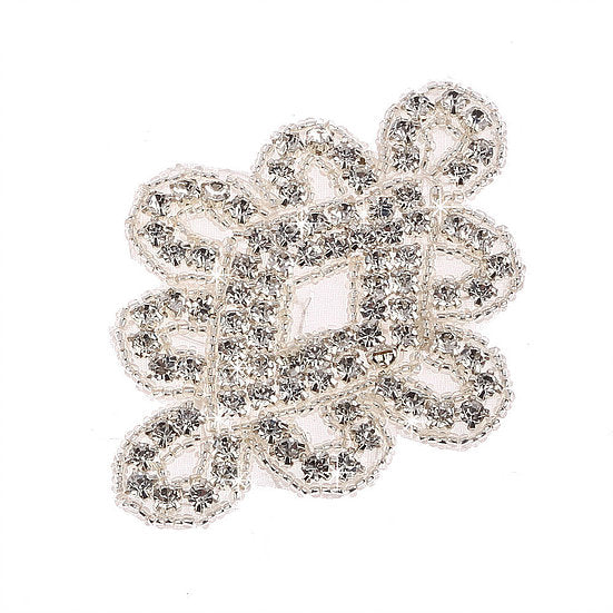 2 x Crystal Beaded Applique Motif (DM14)