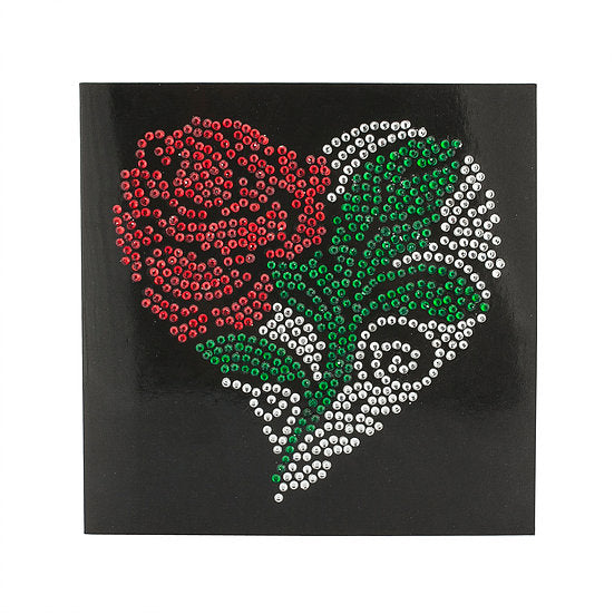 P.BK Rose Flower Crystal Card Kit on Black