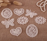 8 x Vintage Mixed Cream Lace Motifs Patches