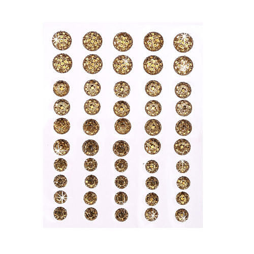 CB070 GOLD - 50 Self Adhesive Crystal Diamante Rhinestone Moon Rocks