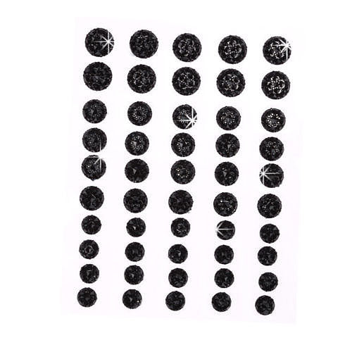 CB070 BLACK - 50 Self Adhesive Crystal Diamante Rhinestone Moon Rocks