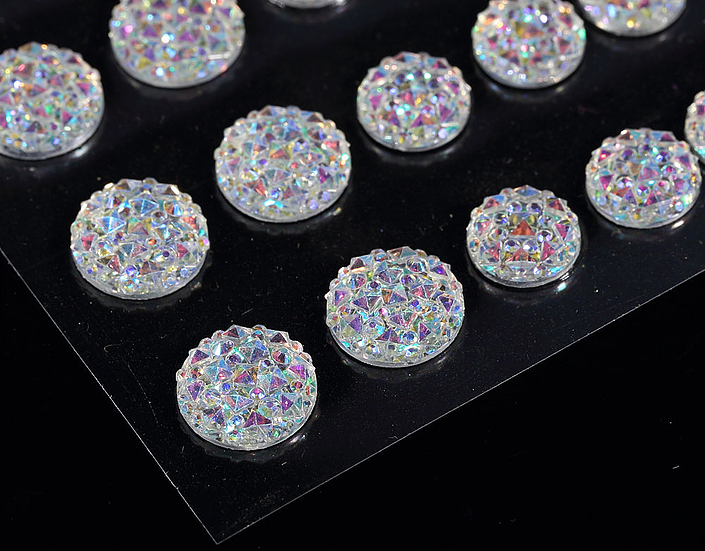 CB070 AB CLEAR - 50 Self Adhesive Crystal Diamante Rhinestone Moon Rocks