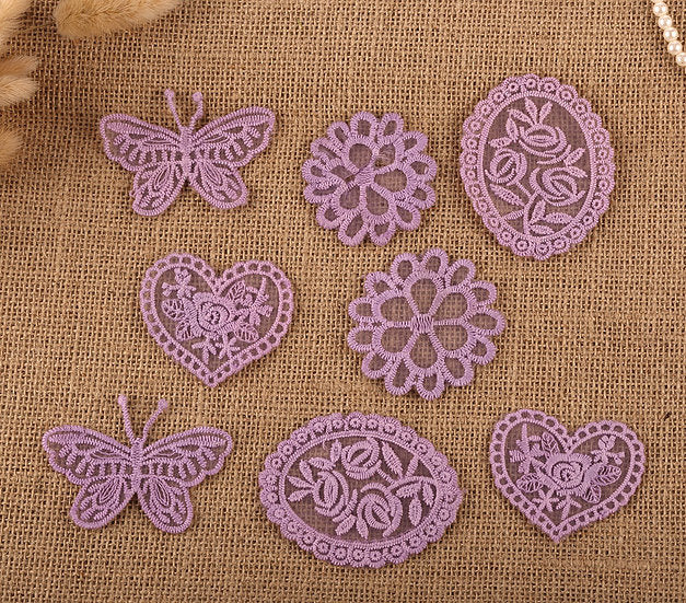 8 x Vintage Mixed Lilac Lace Motifs Patches